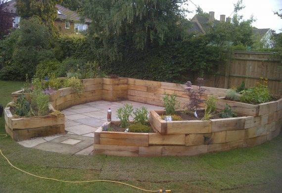 Garden Patio and Oak Sleeper Feature