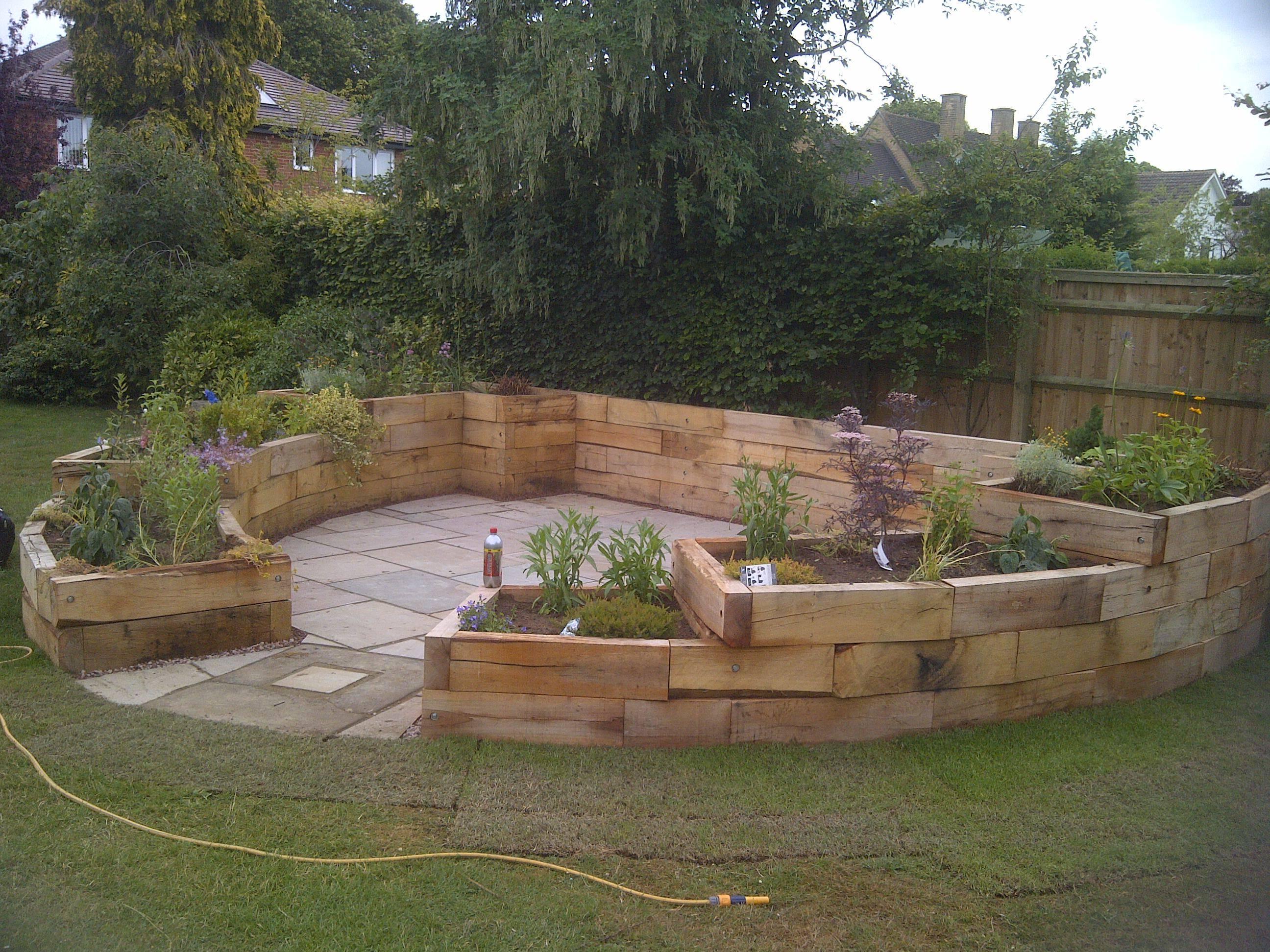 Garden Patio and Oak Sleeper Feature